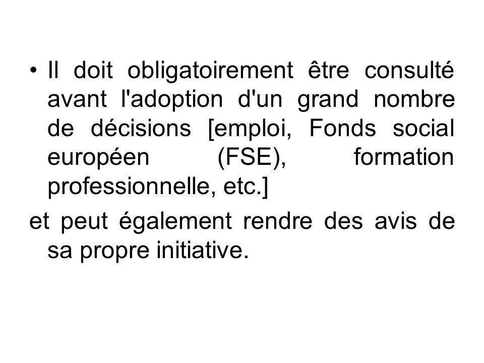 Il doit obligatoirement être consulté avant l adoption d un grand nombre de décisions [emploi, Fonds social européen (FSE), formation professionnelle, etc.]